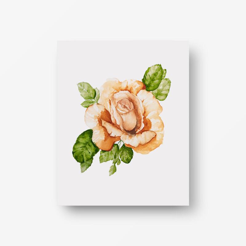 Orange Rose Watercolor Print 1