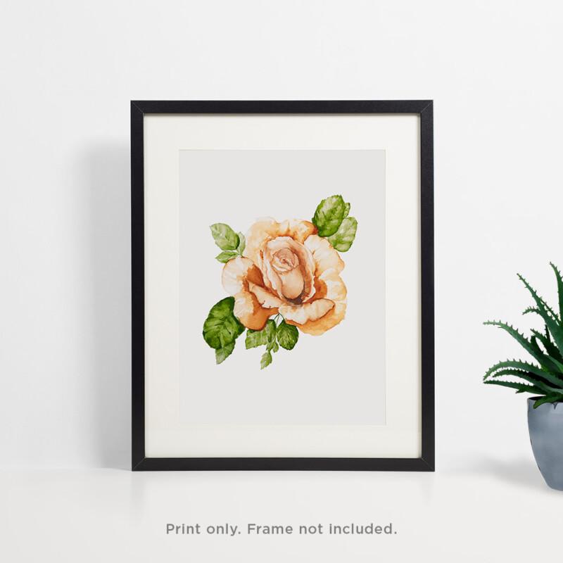 Orange Rose Watercolor Print 2