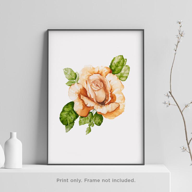 Orange Rose Watercolor Print 3